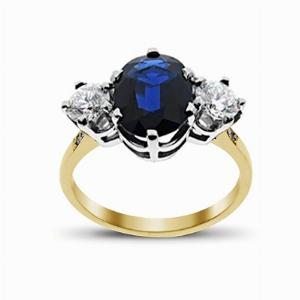 Sapphire & Diamond Yellow Gold Three Stone Ring 11 x 9 mm